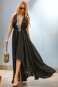 Designer-Long-Convertible-Maxi-Dress-In-Black