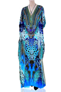 Long Kaftan Dress in Blue Santorini