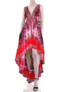 Fuchsia High Low Maxi Dress