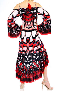 Butterfly Print High Low Dress