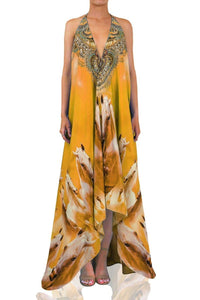 Printed-Yellow-Maxi-Dress-3-Ways-To-Wear-Long-Dress