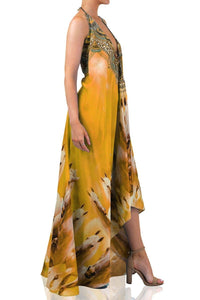 Printed-Yellow-Maxi-Dress-3-Ways-To-Wear