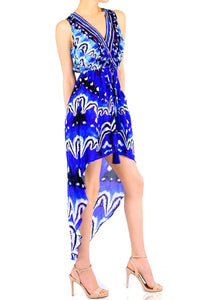 V-neck Hi-Low dress in blue