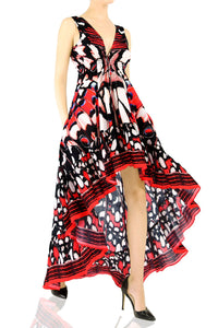 Butterfly Print High Low Maxi Dress