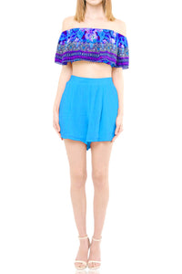 Floral Crop Top-Azure