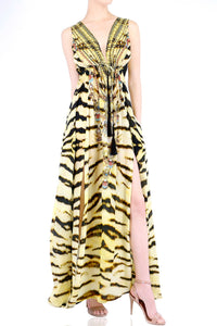 V-Neck Maxi in Tiger Print