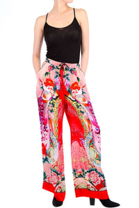 Printed Silk Pants Coral