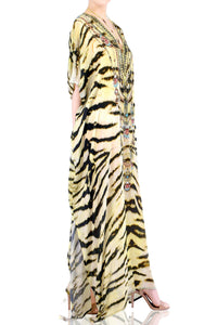 Tiger Print Long Kaftan