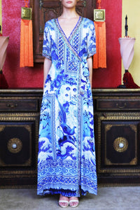 V Neck Wrap Maxi in Blue-CHN