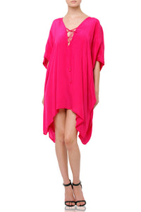 Short Kaftan Dress In Fuchsia