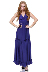 Ruffle Maxi Dress in Blue