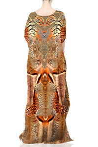 Orange Kaftan in Animal Print