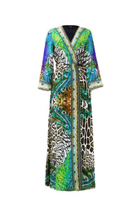 Black Peacock Print Wrap Dress