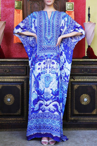 Long Printed Blue Kaftan-CHN