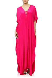 Long Kaftan Dress in Fuchsia
