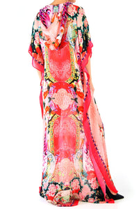 Coral Hooded Kaftan
