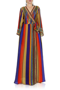 Rainbow Stripe Print Wrap Dress