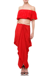 Silk Bare Shoulders Crop Top in Red