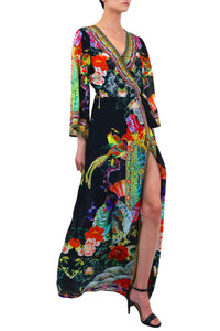 Printed Wrap Dress in Black-CB