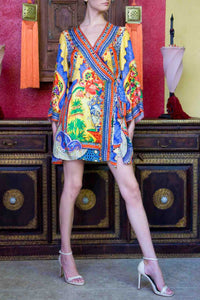 Yellow Tapestry Print Long Sleeve Dress
