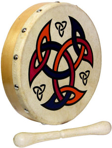 "Glenluce 8"" Bodhran with Beater - Choose Your Design! - Bagpipes Galore"