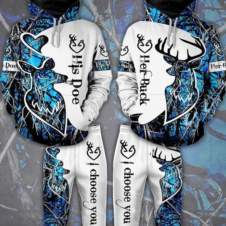 Buck n Doe Deer Hunting I Choose You Hoodie Combo Blue