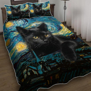 Black Cat Starry Night Quilt Bed Set Block Of Gear