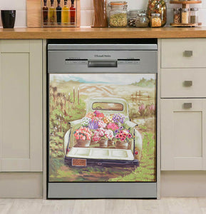 Floral Truck Decor Kitchen Dishwasher Cover