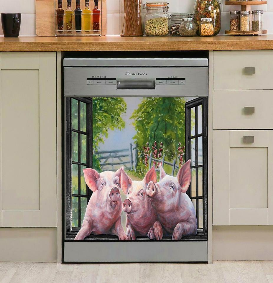 Three Pigs By The Window DECOR KITCHEN DISHWASHER COVER