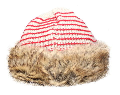 Gew Gaw Cream with Red Stripes Cossack Hat with Faux Fur Trim