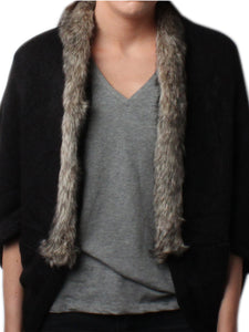 Gew Gaw Black Plain Cape Wrap with Grey Faux Fur Trim