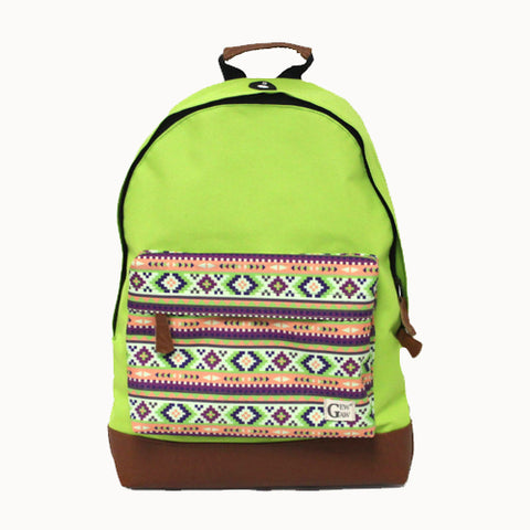 Lime Green Backpack with Aztec Print Pocket