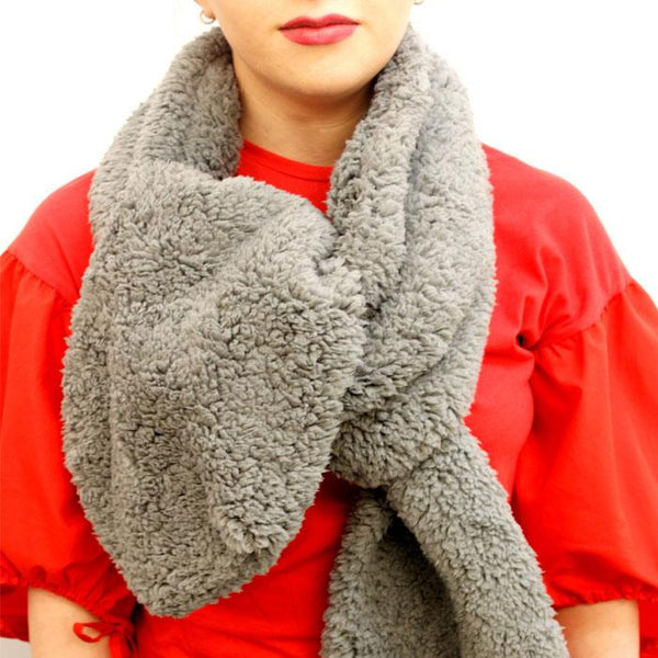 Limited Edition Soft Fleece Grey Long Scarf - Accent Fashion Accessories