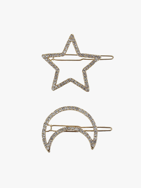 2 PACK STAR AND MOON HAIR CLIPS ACCESSORIES