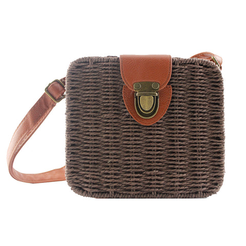 Summer Small Straw Bag Square Bag with Brown