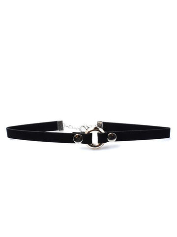 Black Faux Suede Choker Necklace With Metal Ridged Circular Center