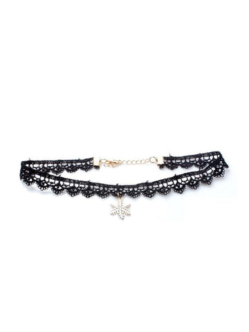 Black Corded Lace Scallop Effect Choker Necklace With Snowflake Pendant