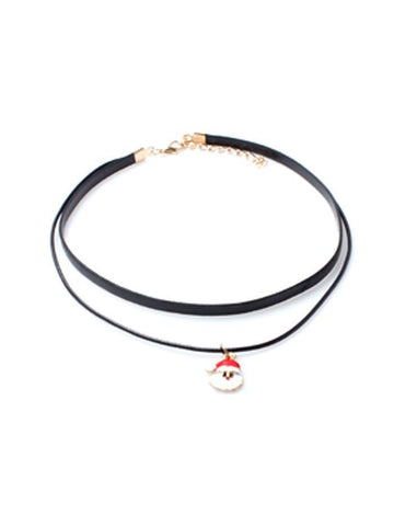 Black Leather Look PU Double Band Choker Necklace With Santa Claus Pendant