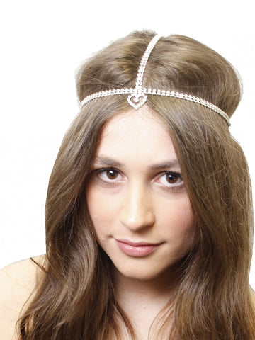Silver Diamante Heart Hairband