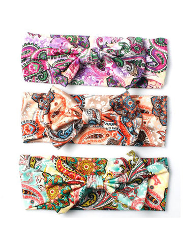 Floral Paisley Print with Bow Detail Headband
