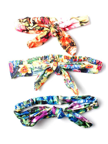 Floral Print with Wired Bow Detail Headband