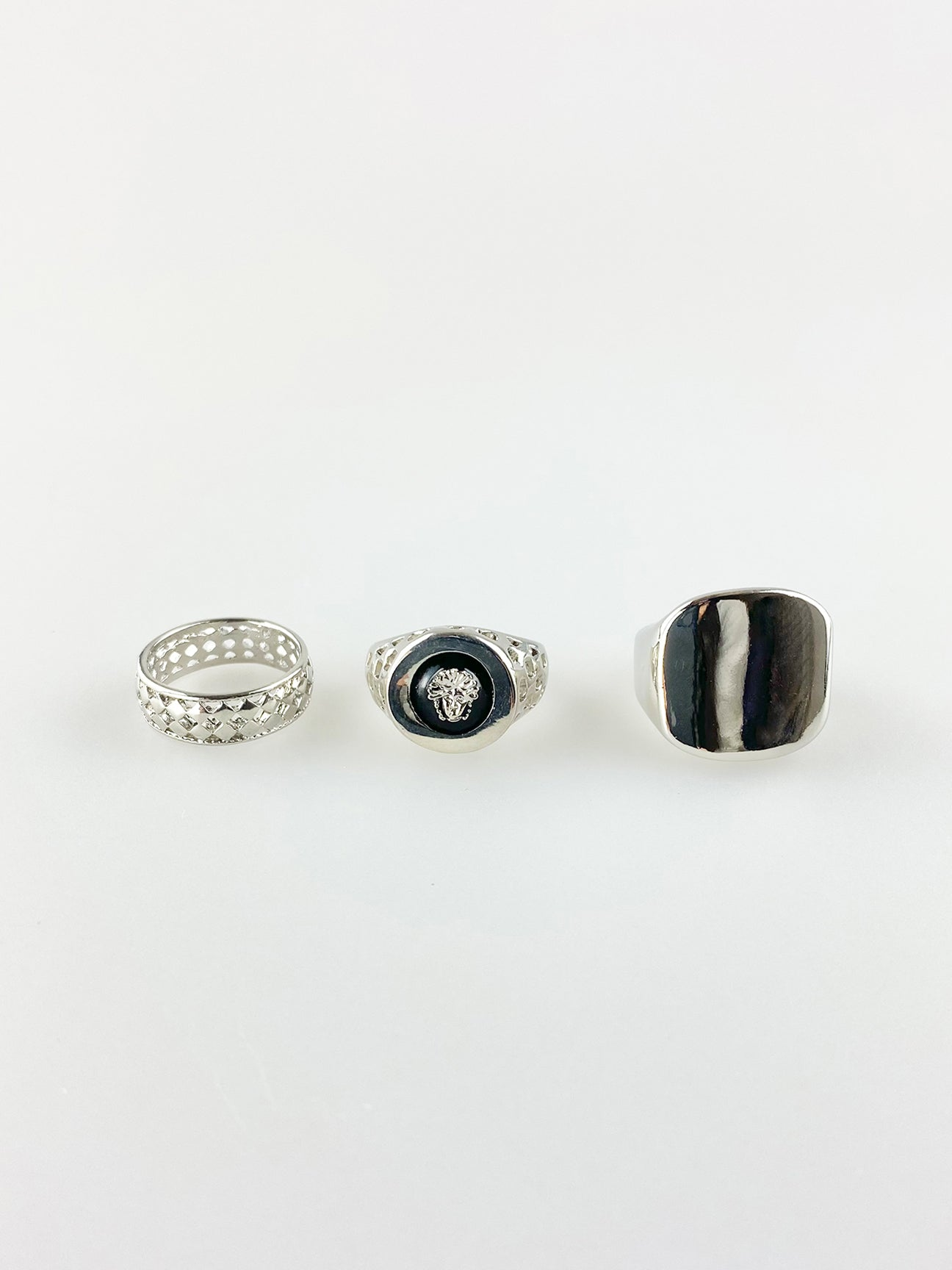 Pack Of 3 Silver Rings