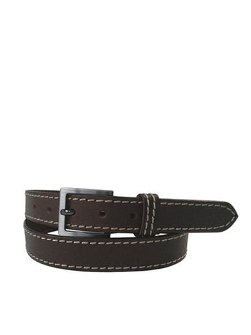 Gewgaw Real Leather Brown Belt with Stitching Detail