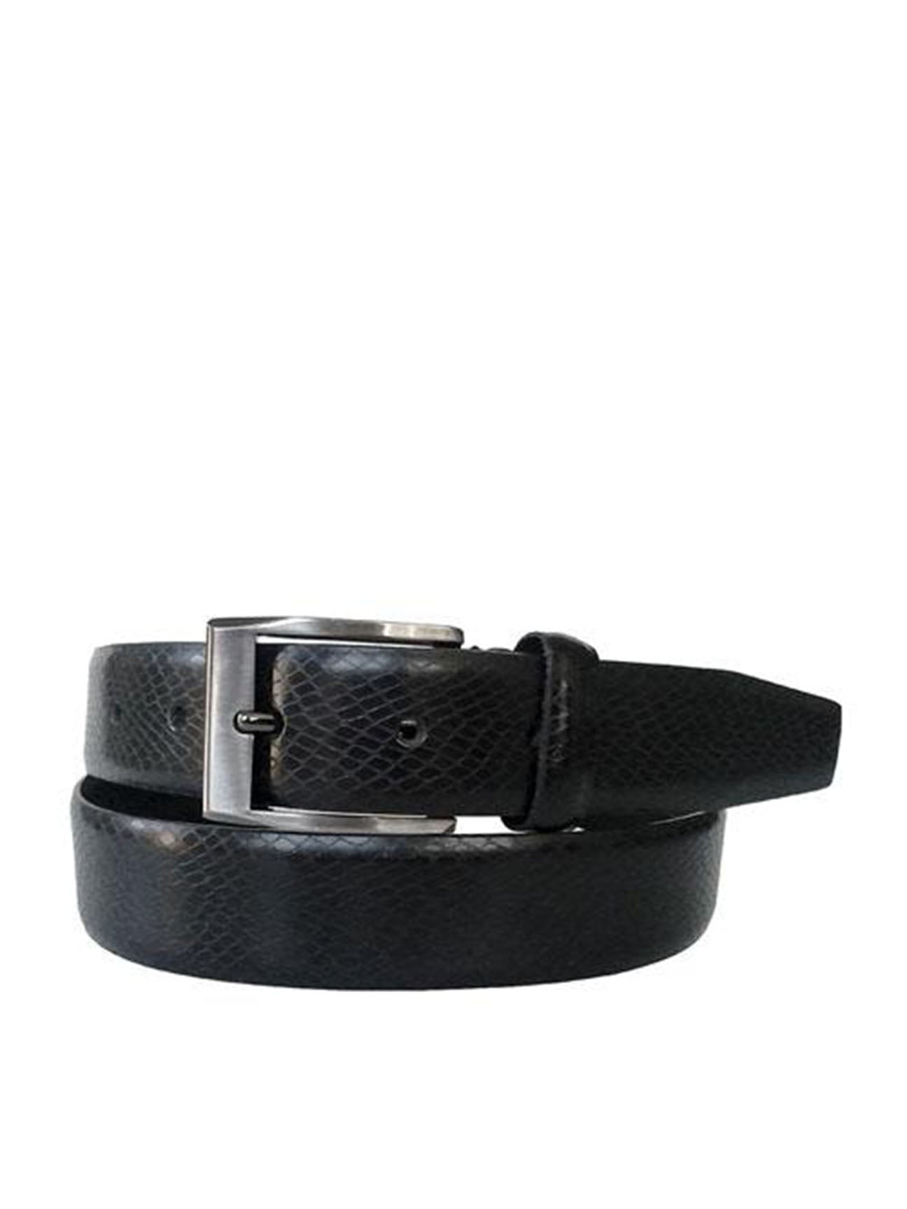 Gewgaw Real Leather Black Belt with Snake Skin Effect