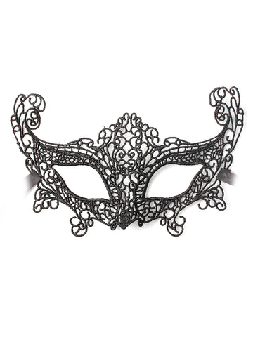Black Gothic Style Lace Effect Fancy Dress Mask with Ribbon Fastening