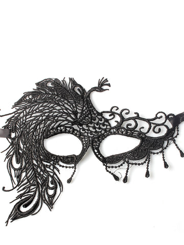 Black Lace Effect Gothic Style Fancy Dress Mask with Ribbon Fastening