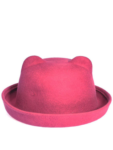 Dark Pink Bowler Hat with Moulded Ears