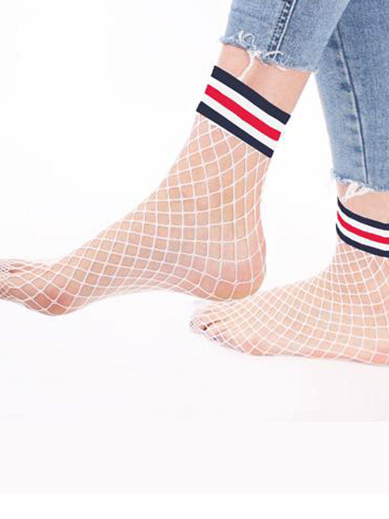 White Fishnet Ankle Socks with Blue, White and Red Cuff