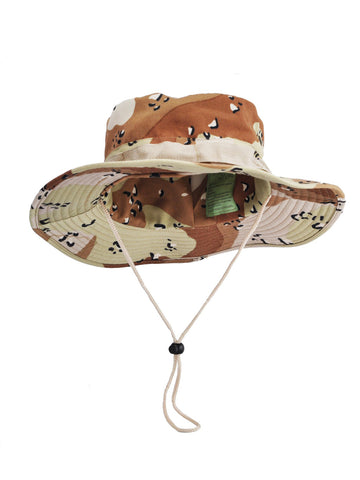 Leopard Print Camo Safari Hat with Toggle Adjuster