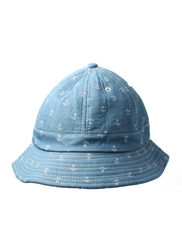 Light Blue Bucket Hat with Anchor Print